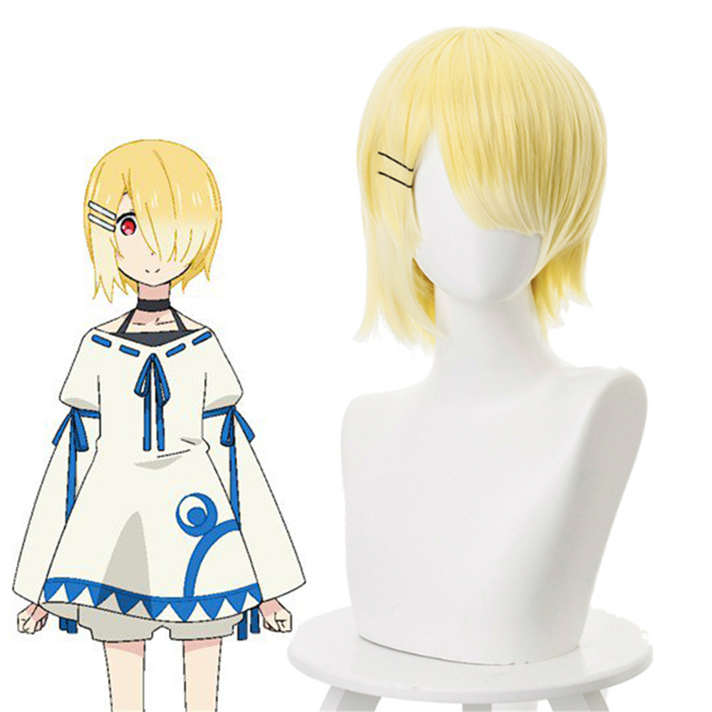 Short Cosplay Wigs Synthetic-Hair Costume Party Straight Women Anime Aku for Yellow Heat-Resistant