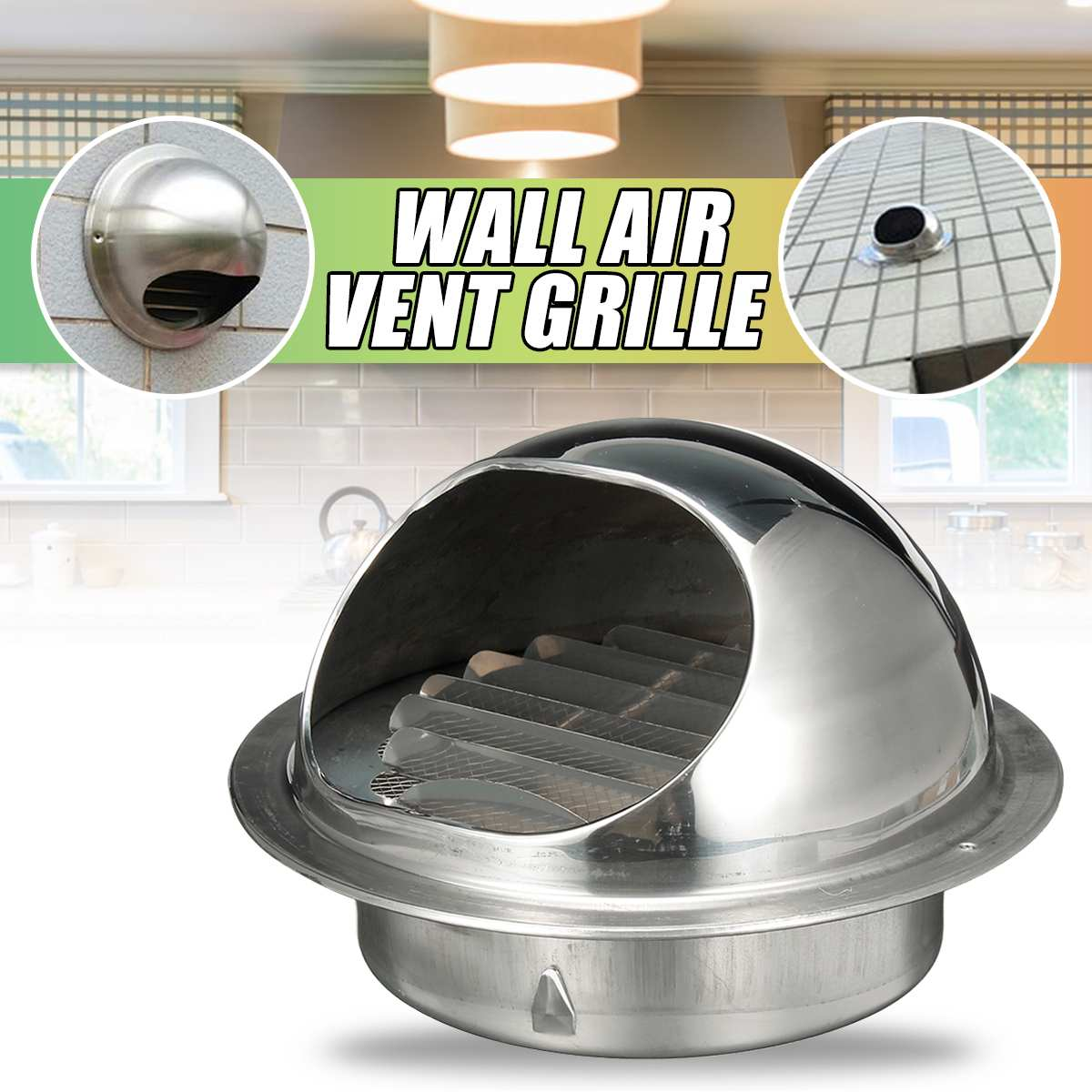 Stainless Steel Thicken  Wall Ceiling Air Vent 200mm/180/160/120/80/70/60mm Ducting Ventilation Exhaust Grille Cover Outlet