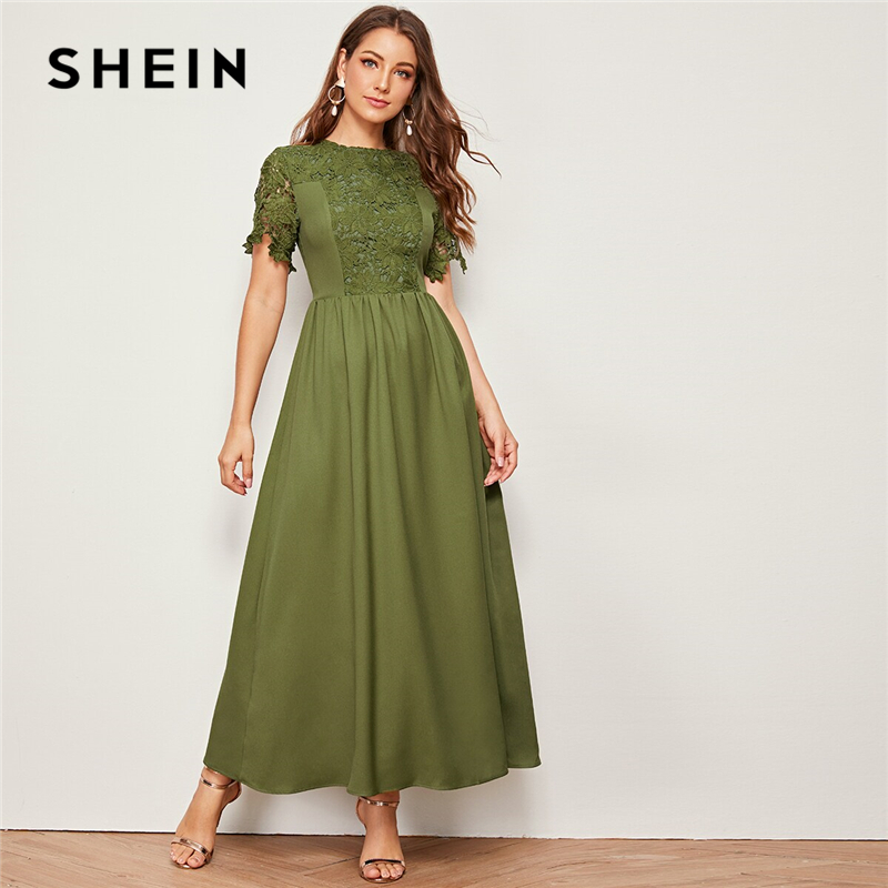 SHEIN Army Green Solid Guipure Lace Trim Fit And Flare Dress Women 2019 Summer Short Sleeve High Waist Elegant Maxi Dresses