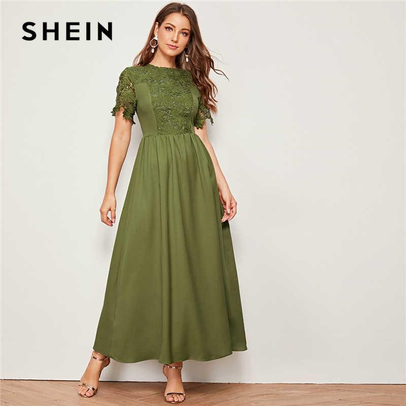 SHEIN армейское зеленое однотонное гипюрное кружево для отделки, облегающее и расклешенное платье для женщин 2019, Летние Элегантные макси платья с коротким рукавом и высокой талией
