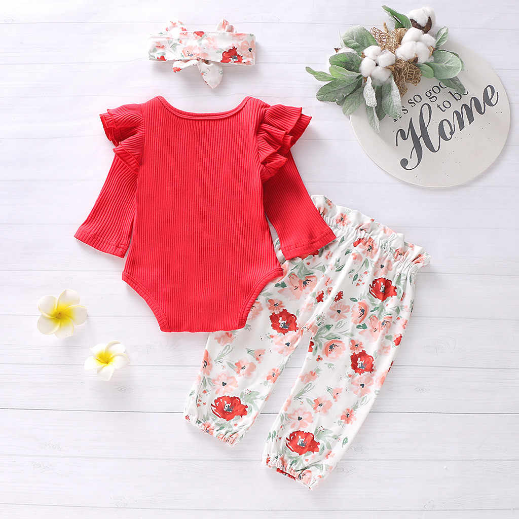 Infant Baby Girl Clothes Newborn Fall Autumn Spring Ruffles Solid Romper Bodysuit+Floral Pants+Headband Baby Girl Outfit Set