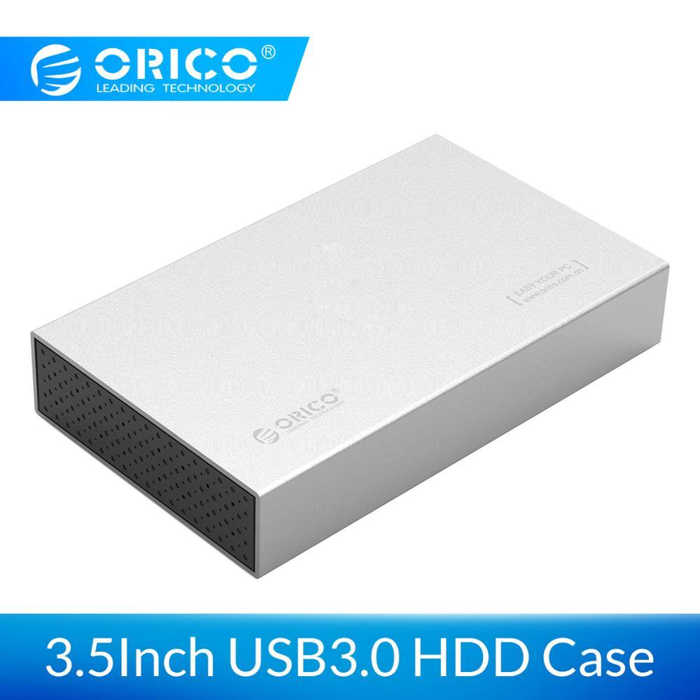 ORICO 3.5 Polegada de Alumínio Hdd SATA para USB 3.0 Gabinete Disco Rígido para Disco SSD Apoio UASP 10TB com Adaptador de Energia