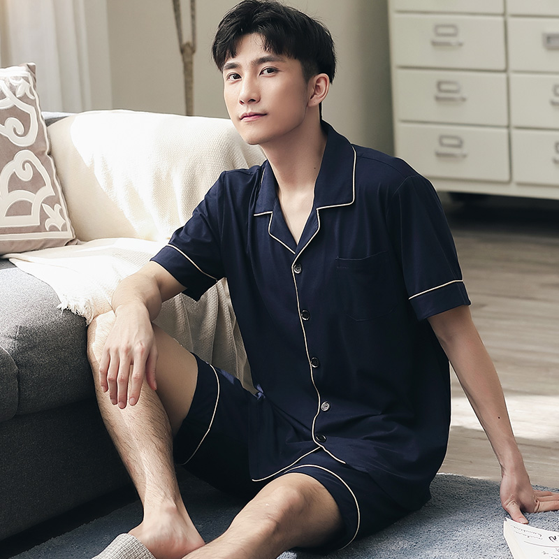 Summer Solid Pajama Set Men Lounge Sleepwear For Gentleman Pyjamas Home Clothes 2PCS Pejama Short Sleeve Leisure Wear Pijamas