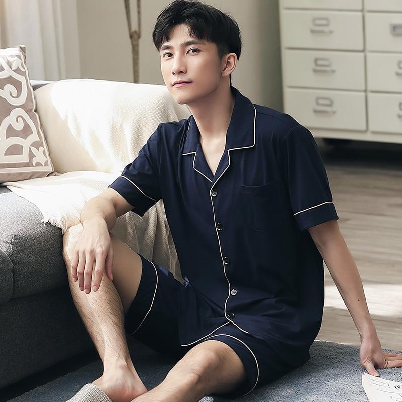 Summer Solid Pajama Set Men Lounge Sleepwear For Gentleman Pyjamas Home Clothes 2PCS Pejama Short Sleeve Leisure Wear Pijamas