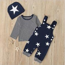 Bebê recém-nascido roupas do menino 2021 moda primavera outono listrado manga longa topos + suspender calças chapéu 3 pçs infantil conjuntos de roupas do bebê