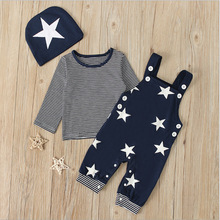 Newborn Baby Boy Clothes 2021 Fashion Spring Fall Striped Long Sleeve Tops+Suspender Pants+Hat 3PCS Infant Baby Clothing Sets