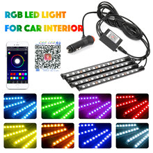 цена на 4pcs DC12V LED RGB Interior Atmosphere Footwell Strip Light Music Sensor for Car Light Auto Interior RGB Decor Light APP Control
