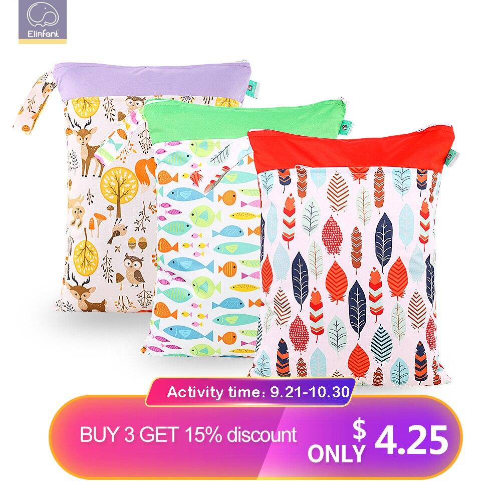 Elinfant Wholesale  Wet Bag  Reusable Waterproof   Dry Diaper Bag Double Pocket Cloth Handle Baby Nappy BagsTravel Bag