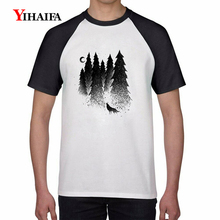 Fashion 2019 Mens T-Shirt 3D Mist Forest Tree Print T Shirts Animal Graphic Tees Men Casual Summer Tops White Unisex Tee душевая дверь в нишу rgw hotel ho 05 130 профиль хром стекло прозрачное