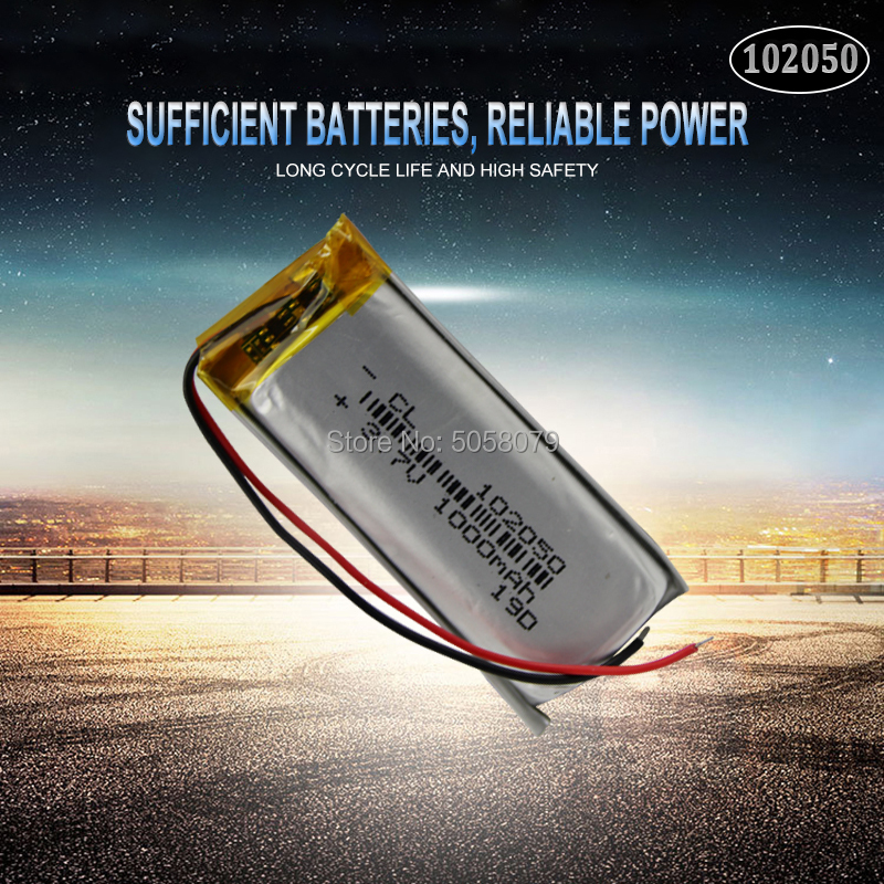 <font><b>3.7V</b></font> <font><b>1000mAh</b></font> <font><b>Battery</b></font> 102050 li-ion Lipo cells Lithium Li-Po Polymer Rechargeable <font><b>Battery</b></font> For Bluetooth speaker GPS PDA POS DVR image
