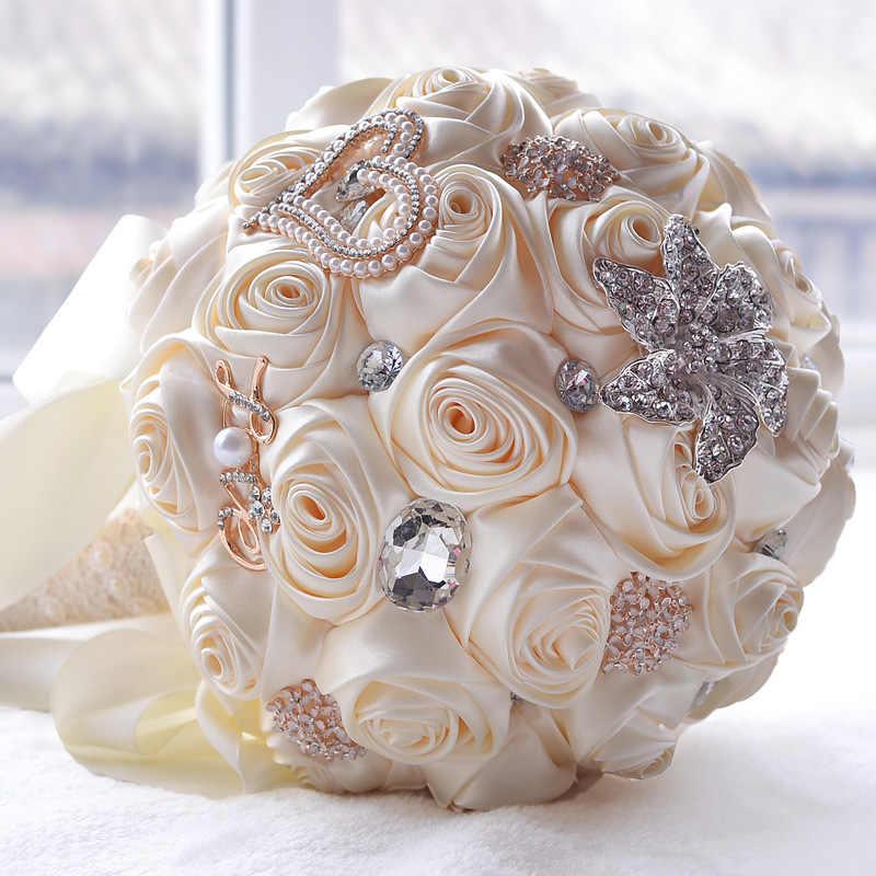 8 Warna Cantik Pernikahan Bunga Pengantin Karangan Bunga Buatan Pernikahan Bouquet Crystal Sparkle dengan Mutiara 2019 Buque De Noiva