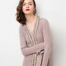 2019 otoño invierno nuevas mujeres Vintage encaje perla botón cálido Cachemira vestido tejido cuello en V ajustado largo suéter de lana vestidos