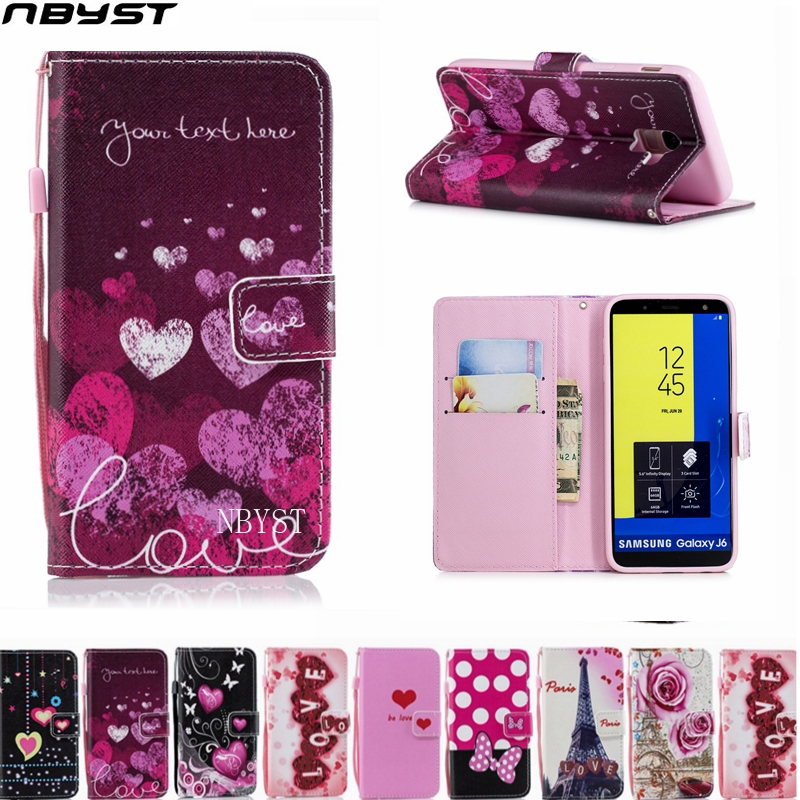 NBYST Fashion LOVE Leather Wallet Flip Cover For Samsung Galaxy A6 A7 A8 A9 star plus 2018 A10 A20 A30 A40 A50 A70 A20E Case
