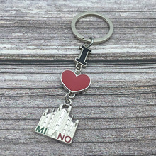 New Arrival Trendy Tourist Souvenirs Keychain Red Heart I Love Milano Italy Metal Alloy Letters Keyring Promotion Premium Gift