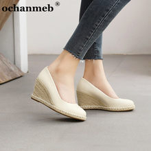 Ochanmeb marca de luxo natural cunhas cânhamo saltos sapatos para as mulheres dedo do pé redondo artesanal boa qualidade couro do plutônio festa escritório sapatos 44