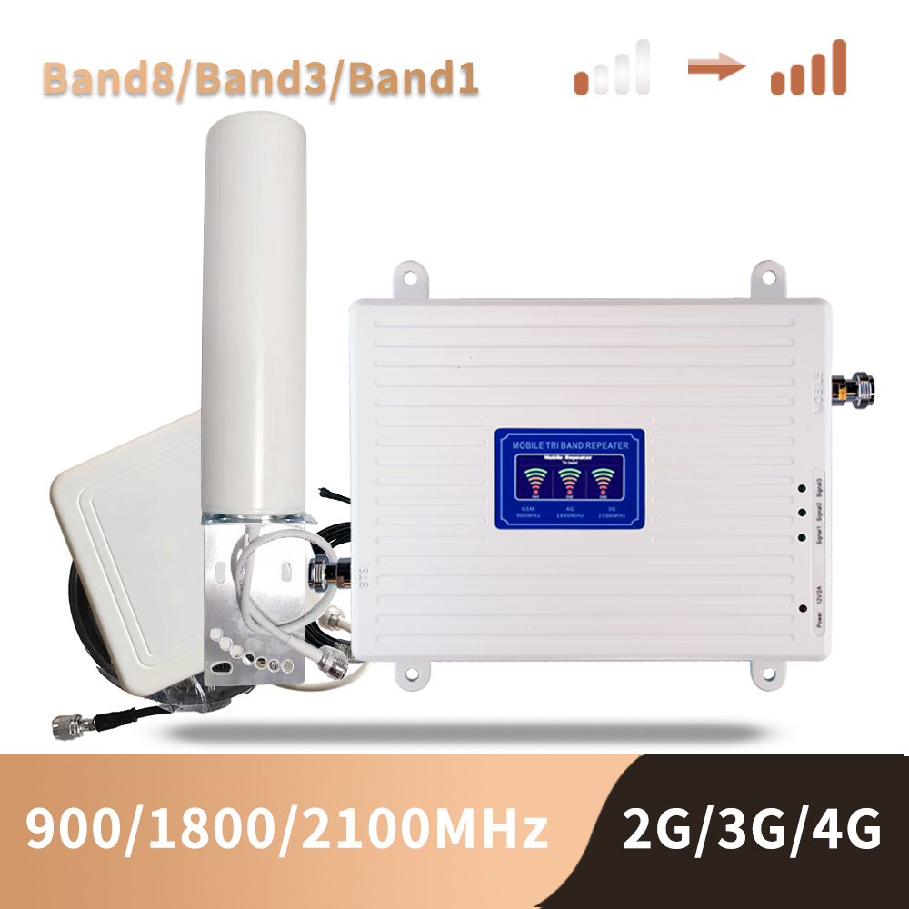 2g 3g 4g Cellular Signal Booster Gsm Tri Band Mobile Signal Amplifier LTE Cellular Repeater GSM DCS WCDMA 900 1800 2100 Set
