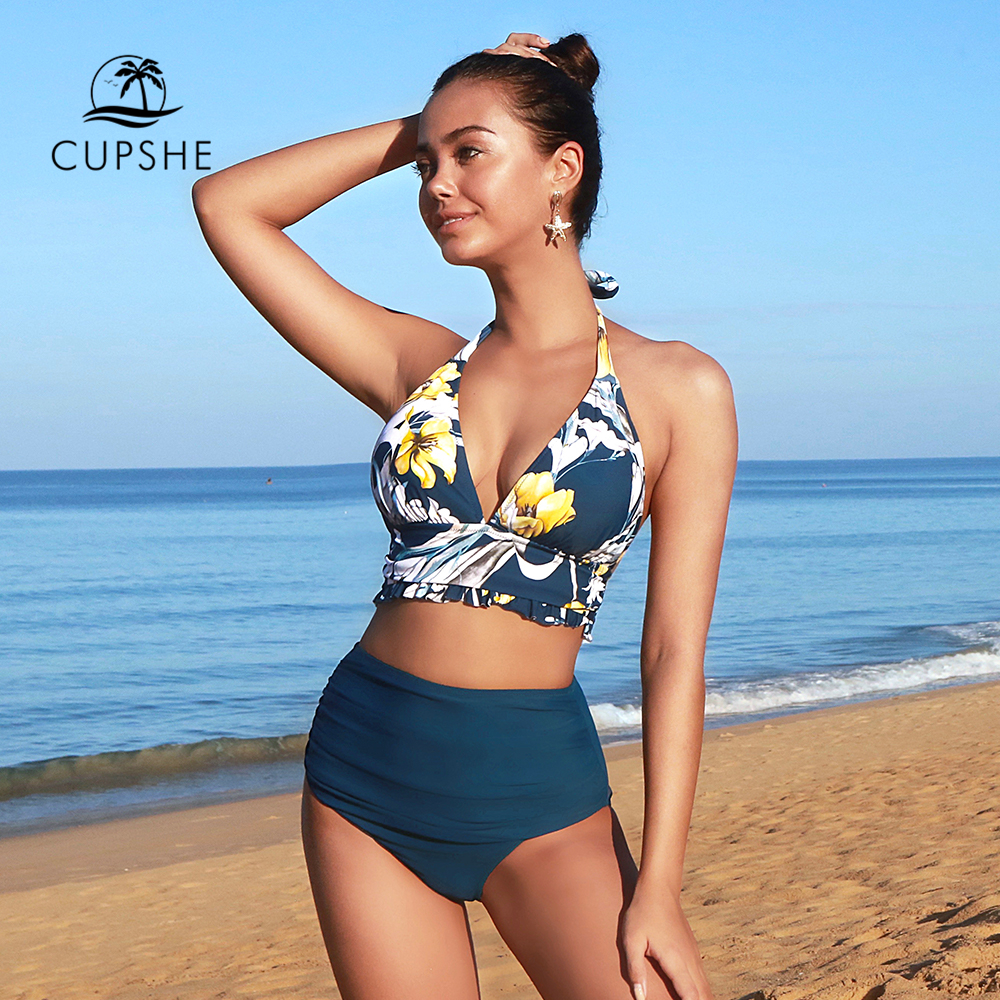 CUPSHE Navy and Floral Halter High-waisted Bikini Sets Sexy Tank Top Swimsuit Two Pieces Swimwear Women 2020 Beach Bathing Suits