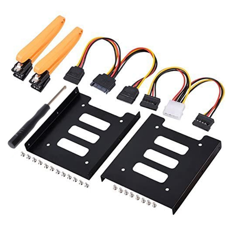 2.5 Inch SSD to 3.5 Inch Internal Hard Disk Drive Mounting Kit with SATA Data Cables and Power Cables (2 x SSD Bracket)