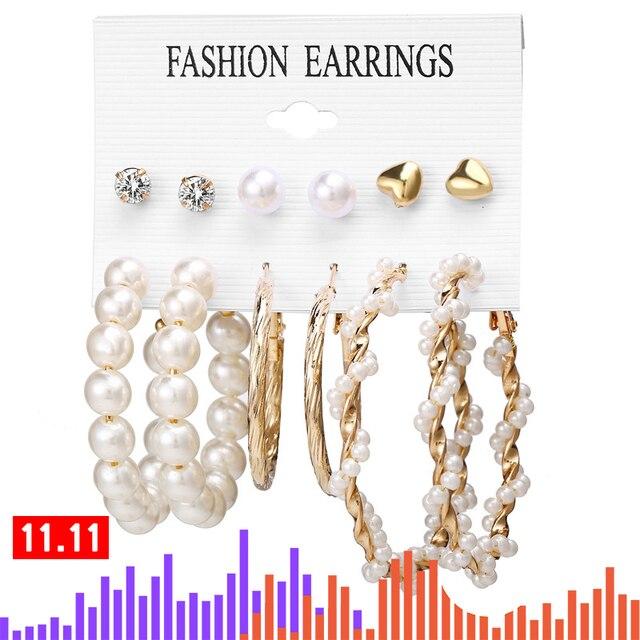 17KM Vintage Tassel Acrylic Earrings For Women Bohemian Earrings Set Big Dangle Drop Earring 2020 Brincos Female Fashion Jewelry 2