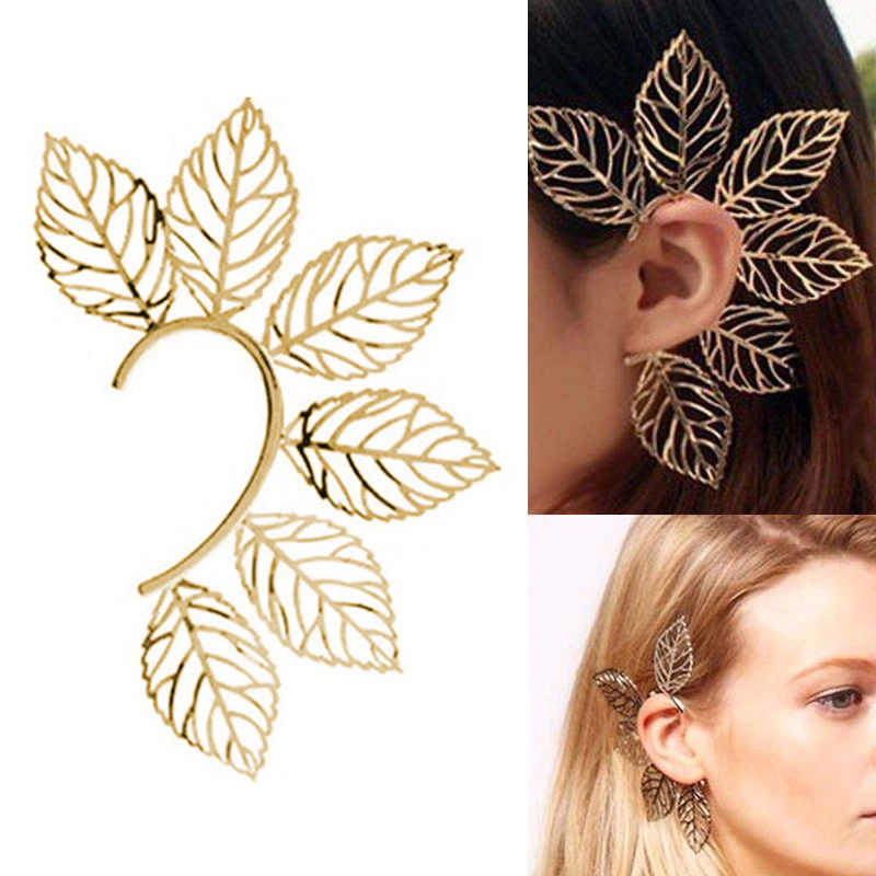 Fashion Jewelry Unique Leaf Alloy Wedding Ear Clips Girls Valentines Gift Party Golden Women 1PC Beautiful