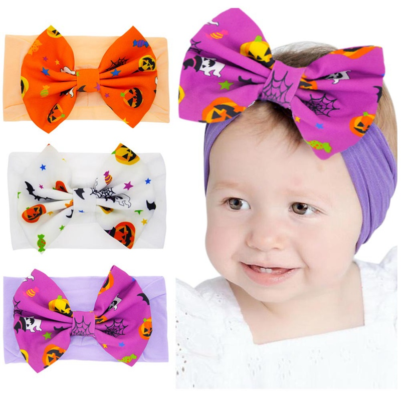 Big Bow Halloween Print Hair Bands Large Knot Headband Girls Kids Headwrap Hair Accessories