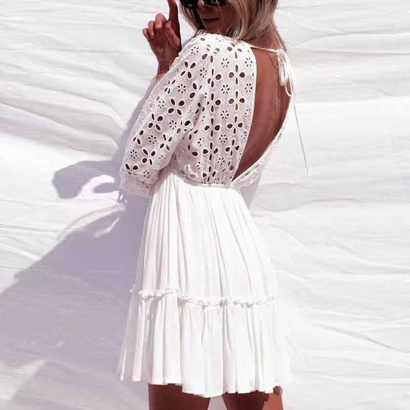 TOPUK BÜYÜK Seksi Derin V boyun Beyaz Elbise Elastik Bel Dantel Vestidos Kadın Yaz Geri Plaj Elbiseleri Artı boyutu XXL WQS2331