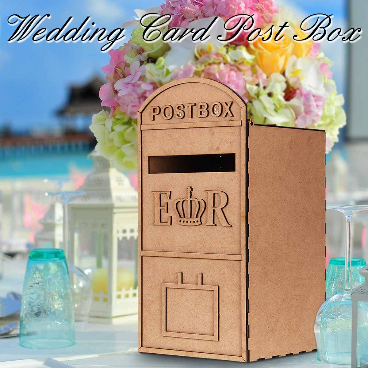 DIY Wedding Mail Box Royal Wooden Wedding Card Post Box Mail Style Wedding Gift Card Box Wedding Decor Party Decoration