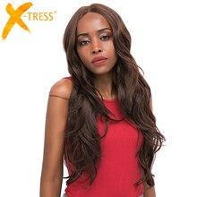 Orta kahverengi sentetik saç dantel peruk kadınlar için X TRESS sarışın 613 uzun dalgalı dantel ön peruk doğal saç çizgisi ile orta parça