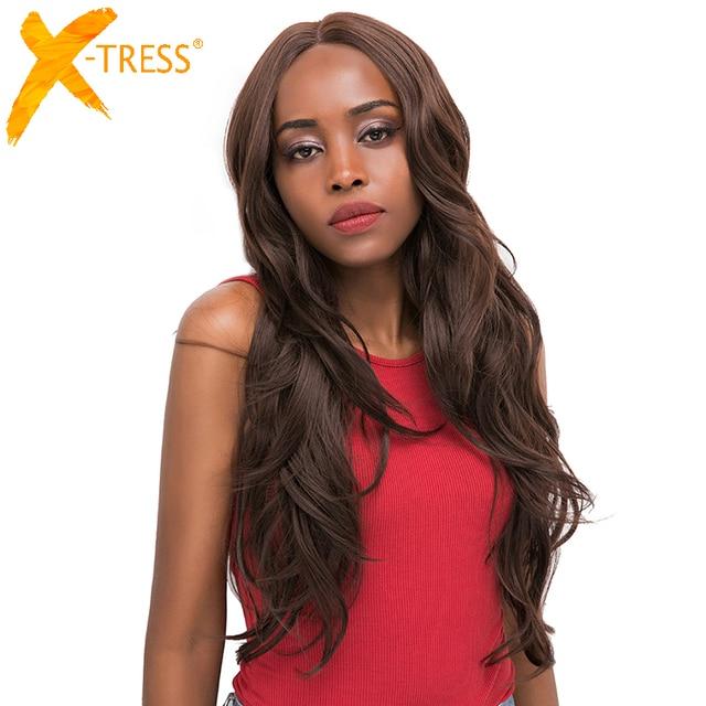 중간 갈색 합성 머리 레이스 가발 여성을위한 X TRESS 금발 613 긴 물결 모양의 레이스 프론트 가발 자연 헤어 라인 중간 부분