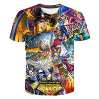 Men Women Children Summer Fashion Short Sleeve Anime Saint Seiya Printed 3D T-shirt Casual Streetwear Unisex Loosed Tee Shirts