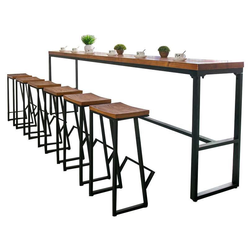 Tieyi American Solid Wooden Bar Table Against The Wall  Chair Family Bench  High  Coffee