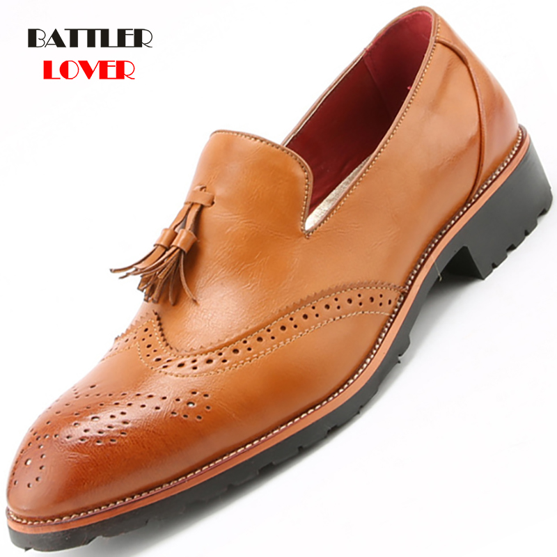Brand Brogue Yellow Red Black Men Business Dress Shoes Pointed Toe Men