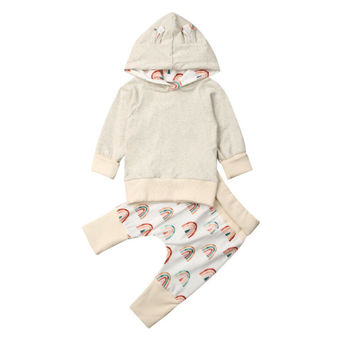0-18M otoño recién nacido bebé niña de manga larga con capucha camisetas con estampado arcoíris pantalón largo 2 uds conjunto de ropa de bebé