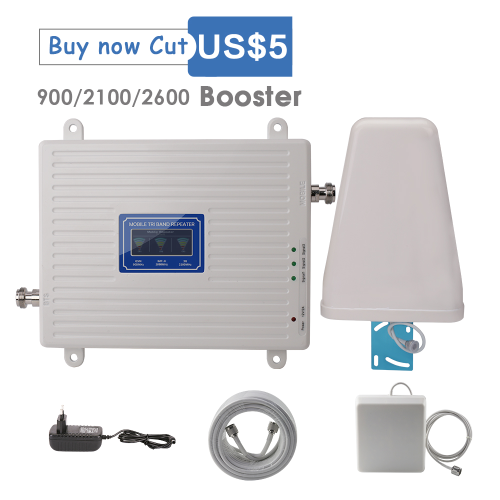 900/2100/2600 MHz Booster GSM WCDMA UMTS LTE 2g 3g 4g Repeater 2G GSM 900 3G WCDMA 2100 4G LTE 2600 Cellular Signal Amplifier B7