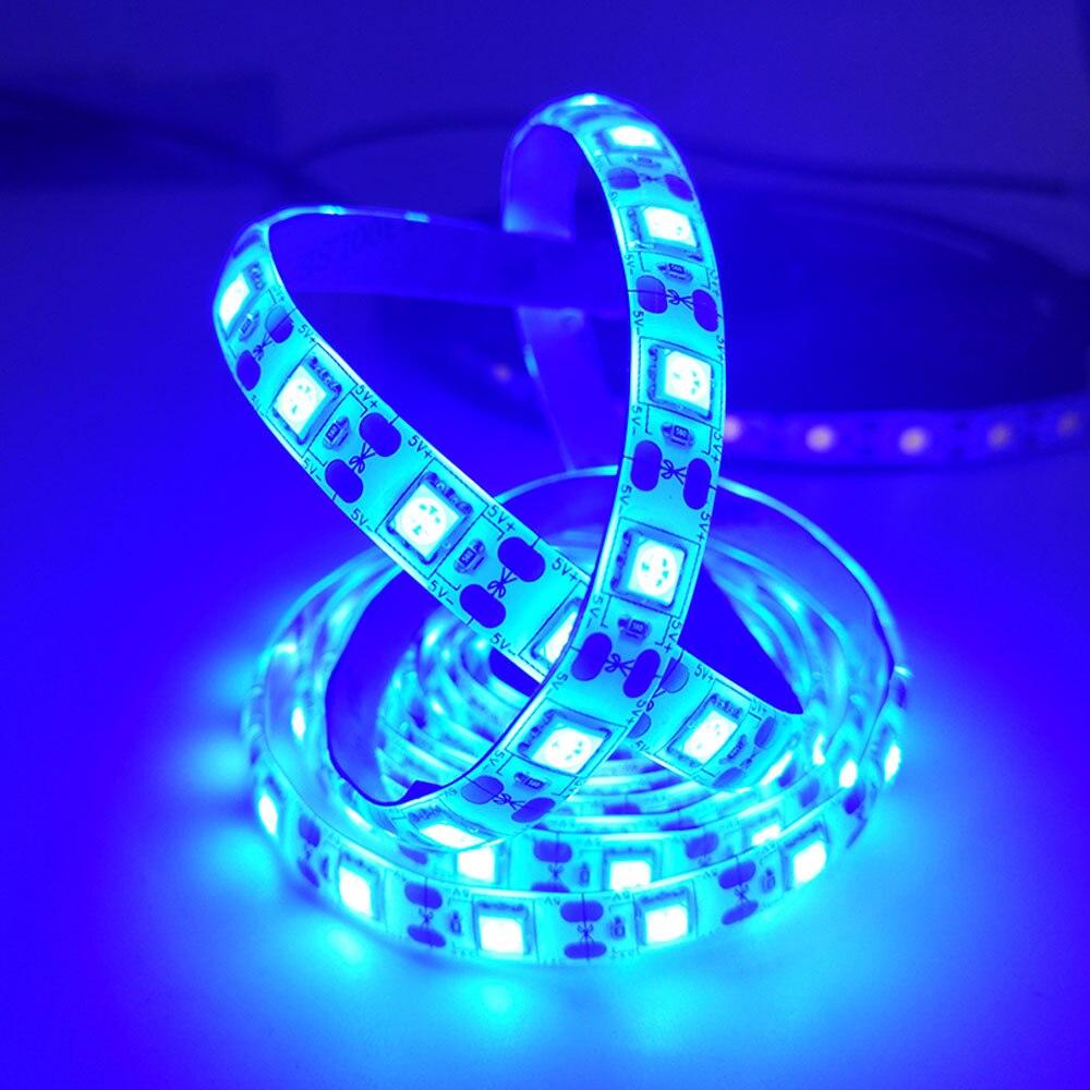 USB Glue Waterproof LED Strip Light Warm White 5050 SMD 2835 Flexible Ribbon Fita Led Light Strip RGB Tape Diode DC Led Strip 5M