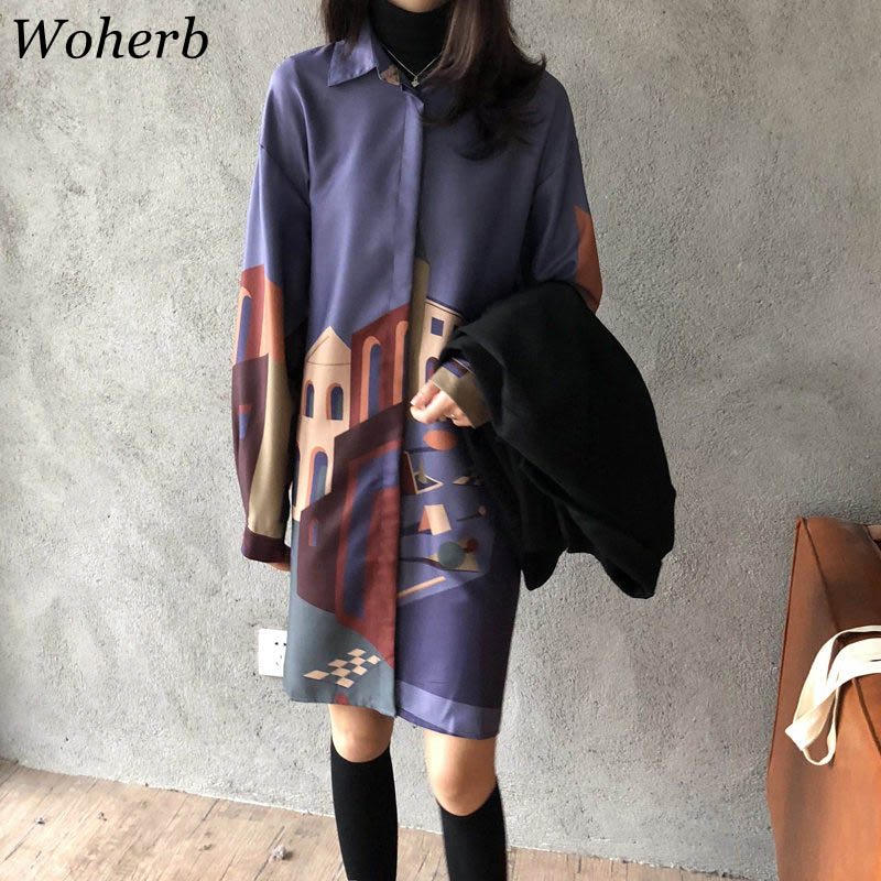 Woherb 2019 Autumn Long Shirt Dress Women Casual Plus Size Blouses Tops Printed Harajuku Long Blusas Ladies Loose Blouse 20714