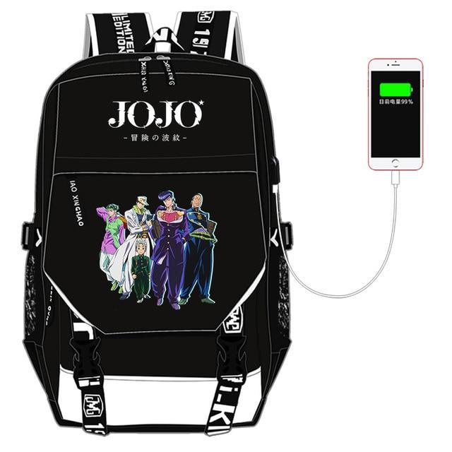 JoJo's Bizarre Adventure Kujo Jotaro Nylon School Bags for Teenage Girls USB Charging Laptop Backpack Canvas Bookbag Travel Bag 2
