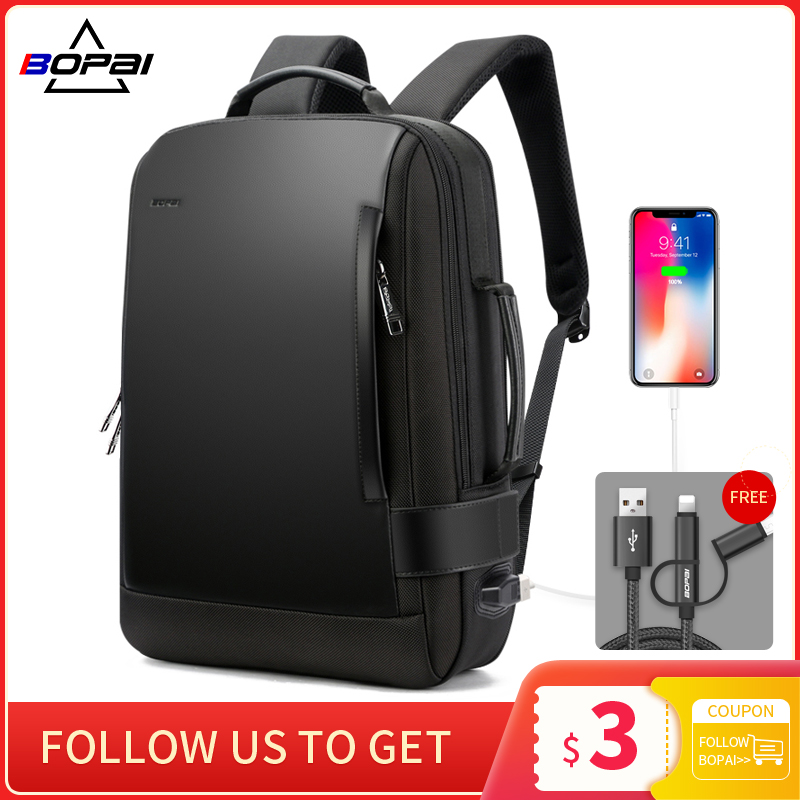 BOPAI Brand Enlarge Backpack USB External Charge 15.6 Inch Laptop Backpack Shoulders Men Anti theft Waterproof Travel Backpack|backpack brand|brand backpacktravel backpack - AliExpress