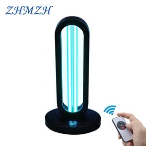 Image 1 - 110V 220V שלט רחוק אולטרה סגול לחיטוי מנורת 38W UV חיטוי אור גבוהה אוזון UVC קוטל חידקים מנורה