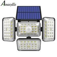 Luci solari da esterno 242 LED sensore di movimento solare lampada di sicurezza 4 teste IP65 luce di inondazione impermeabile per ingressi da Garage