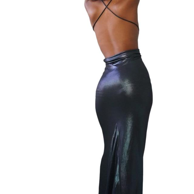 Halter dress women sexy elastick halter black Sexy Strap Backless bodycon dress maxi halter dress y2k nigthclub dressParty dress 3