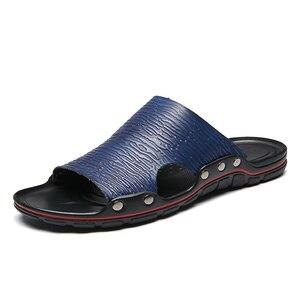 Image 3 - Außerhalb Flache Mikrofaser Männer Leder Hausschuhe Casual Sommer Schuhe Herren Rutschen Sliders Slide Pantoffel 2020 Dropshipping