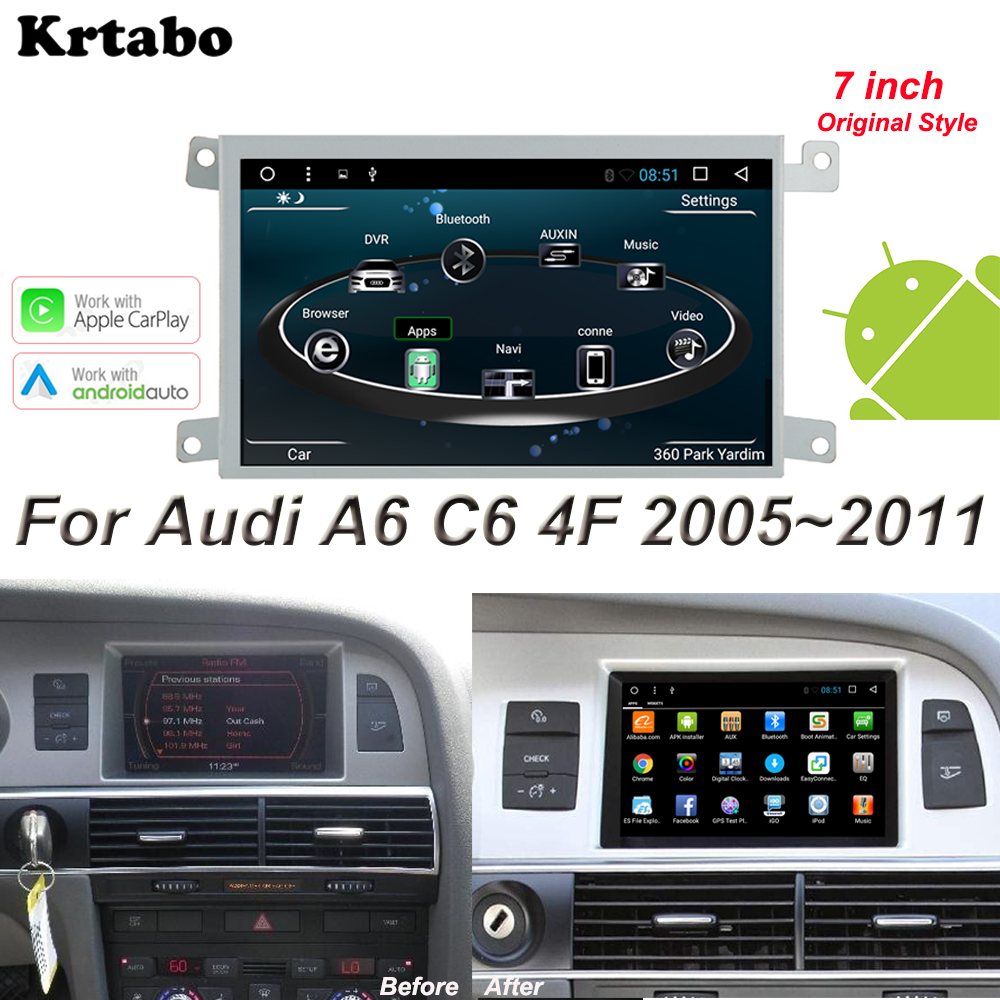 For Audi A6 C6 4F 2005 2006 2007 2008 2009 2010 2011 Android Multimedia Player Car radio Orininal Style Screen Apple Carplay image