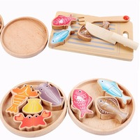 Multi functional Wooden Pretend Play Plastic Food Toy Cutting Children's Kitchen Over Home Toys Parent child Game Cut The Set