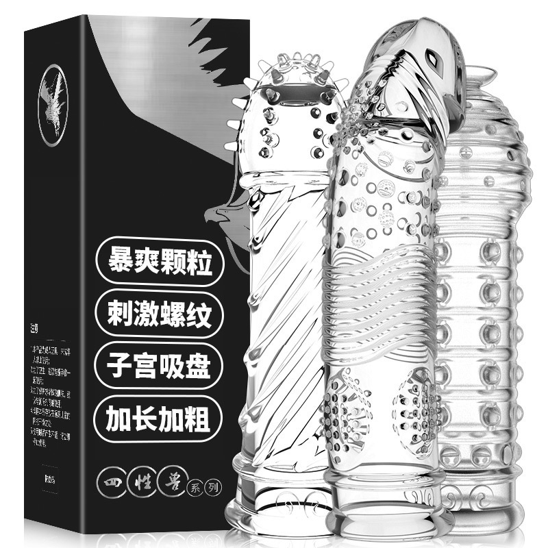 Mystery Kyi Four Beasts Wolf Tooth Sheath Male Transparent Crystal Thorn Ring Condom Adult Sex Supplies Wholesale