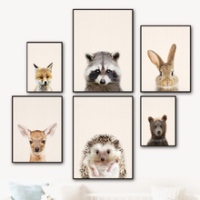 Fox Raccoon Deer Bear Rabbit Hedgehog Animals Nordic Posters And Prints Wall Art Canvas Painting Pictures Kids Room Decor