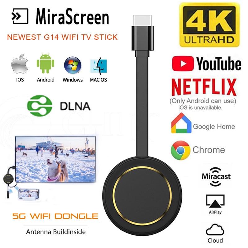 Беспроводной ТВ-проектор Miracast G14, Wi-Fi, Hdmi ключ, Ezcast 4K, для Youtube, Google Chromecast
