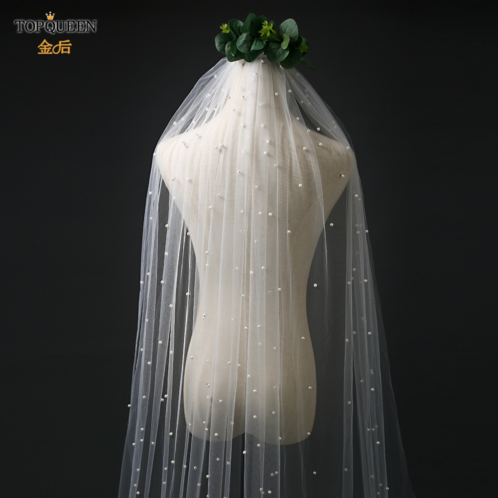 TOPQUEEN V05 Simple  Elegant Veil with Hair Comb White Ivory One Layer Bridal Veil with Pearls for Wedding Accessories