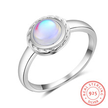 Women 925 Sterling Silver Rings with 6mm Round Rainbow Natural Moonstone Vintage Wedding Party Gift Fine Jewelry (Lam Hub Fong)