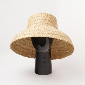 Image 2 - Summer hats for women Retro flat drooping hat brim hand made raffia straw hat ladies outdoor sun protection beach straw hat